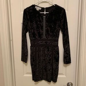 Dresses & Skirts - Long Sleeve Crushed Velvet Mini Mesh Panel Dress